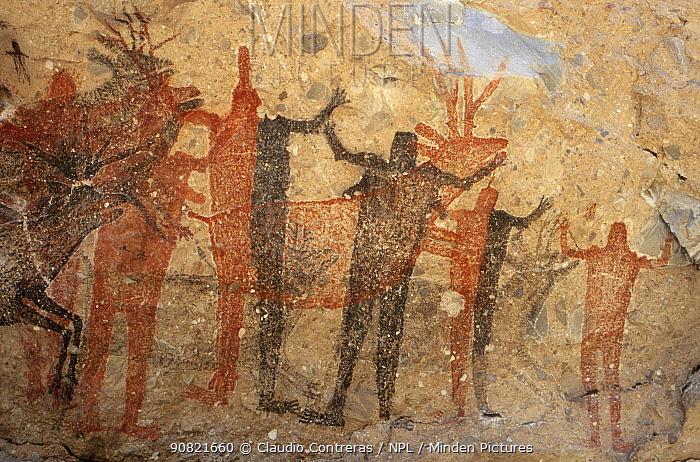 Prehistoric rock painting of Pronghorn antelope and people, at La Pintada cave. San Francisco Sierra, El Vizcaino Biosphere Reserve, Baja California Peninsula, Mexico.