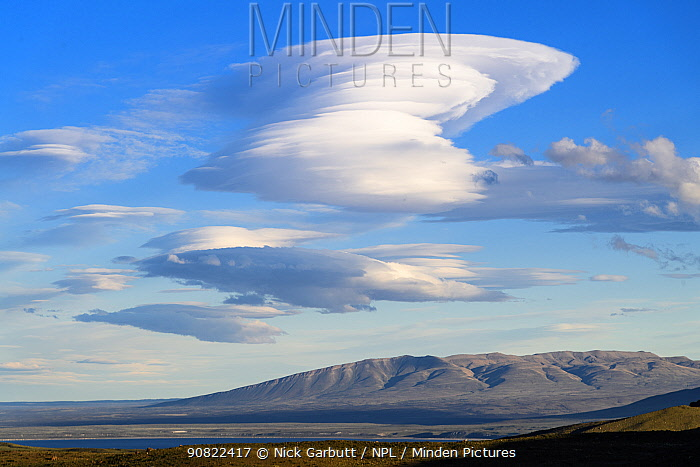 Lenticular clouds above Torres del Paine National Park. Patagonia, Chile. November 2018.