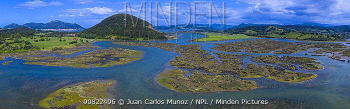Tidal marsh at low tide, aerial view. Santona, Victoria and Joyel Marshes Natural Park, Cantabria, Spain. June 2019.