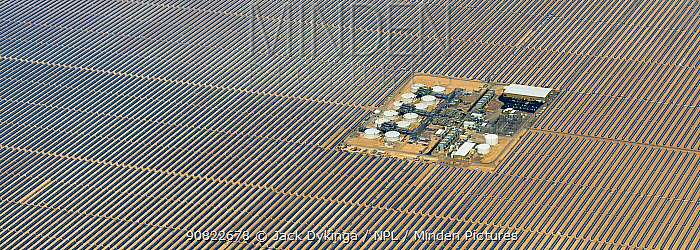 Aerial view of Solana parabolic trough solar generating plant, Gila Bend, Arizona, USA. September 2019. Aerial support by LightHawk.