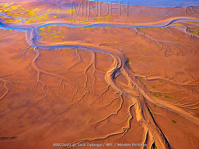Patterns in the tidal flats of the Colorado River Delta where the delta is swept by tidal encroachment from the Gulf of California. Colorado River Delta, Baja California, Mexico. September 2019. Aerial support by LightHawk.