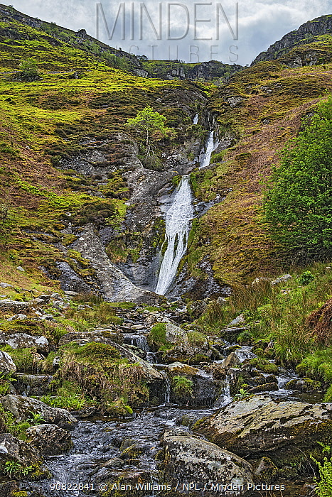 Rhaeadr-bach waterfall, Aber Valley, Snowdonia National Park, Wales, UK. May 2019.