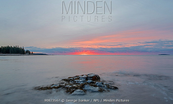 Sunrise over coastal rocks and Atlantic ocean, Acadia National Park, Maine, USA. November 2018.