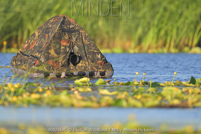 Floating Hide for photography in the Nemunas Delta Nature Reserve, Lithuania.