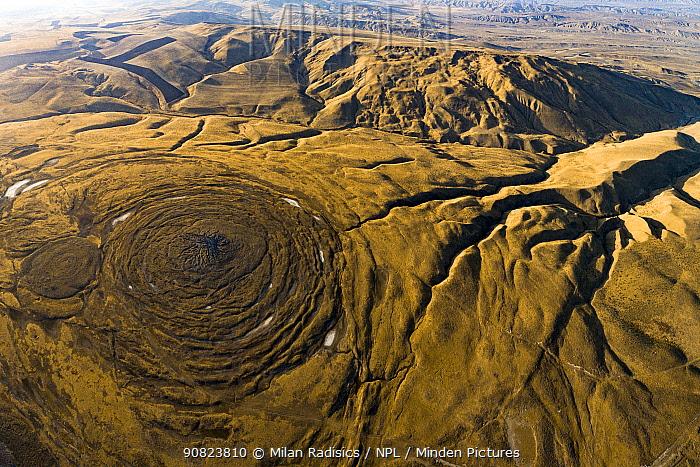 Aerial view of mud volcano, Azerbaijan.