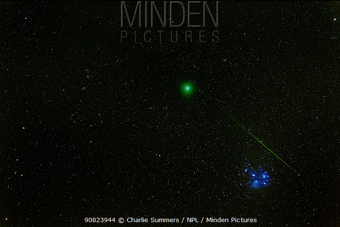 Meteor going past comet 46P / Wirtanen and the Pleiades seen in early morning hours, Echo Lake, Colorado, USA. September 17 2018.