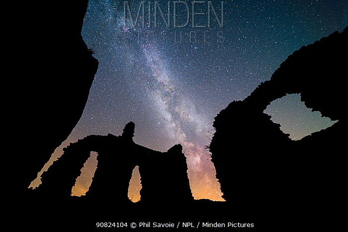 Milky Way core / galactic centre in night sky above 11th Century Grosmont Castle on the Welsh borders. Brecon Beacons NP, International Dark Sky Preserve, Monmouthshire Wales UK, August.