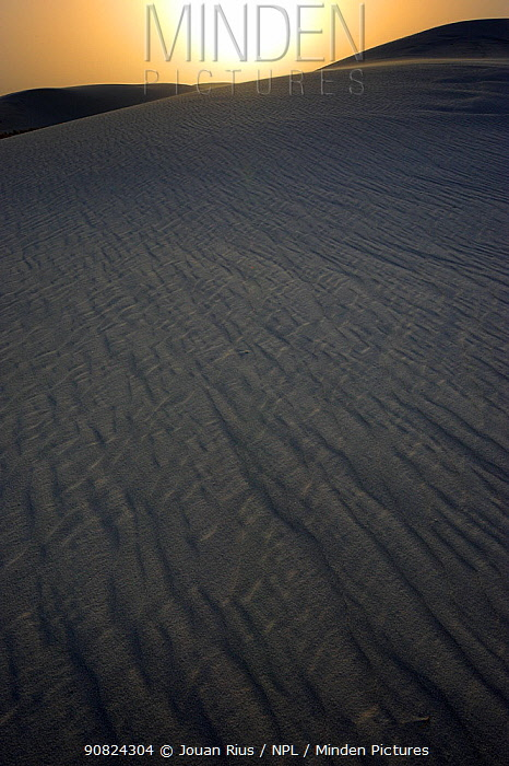 Gypsum sand dune at sunset, White Sands National Park, Chihuahuan Desert, New Mexico, USA, December 2012.