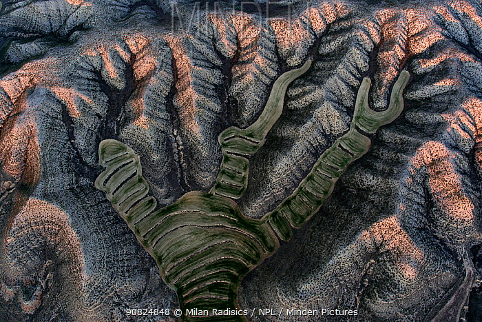 Aerial view of dry agricultural landscape, Aragon, Spain. December 2018. Highly commended in the Landscape Category of 2019 GDT European Wildlife Photographer of the Year.