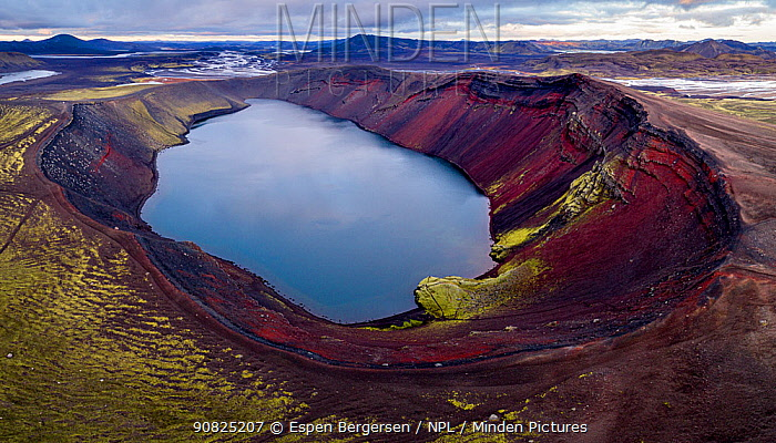 Aerial panoramic shot of the Ljotipollur crater lake, Fjallabakka Nature Reserve, Iceland, October 2017