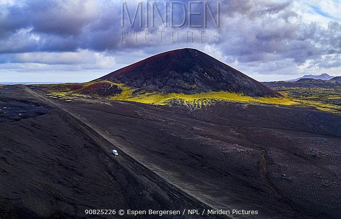 Berserkjahraun, a 4000-year-old lava field situated on the Snaefellsnes peninsula, Raudkula Scoria crater. Iceland, October 2017