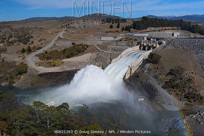 The high flow water release event from Jindabyne dam. Jindabyne, NSW, Australia. October, 2017.