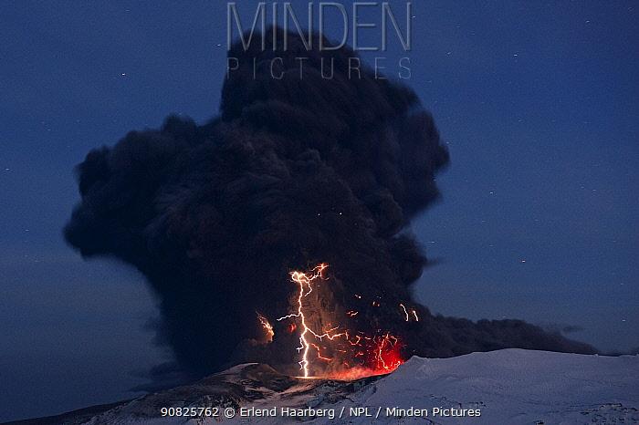 Lightning in the ash plume from the Eyjafjallajokull volcano, Iceland, April 2010
