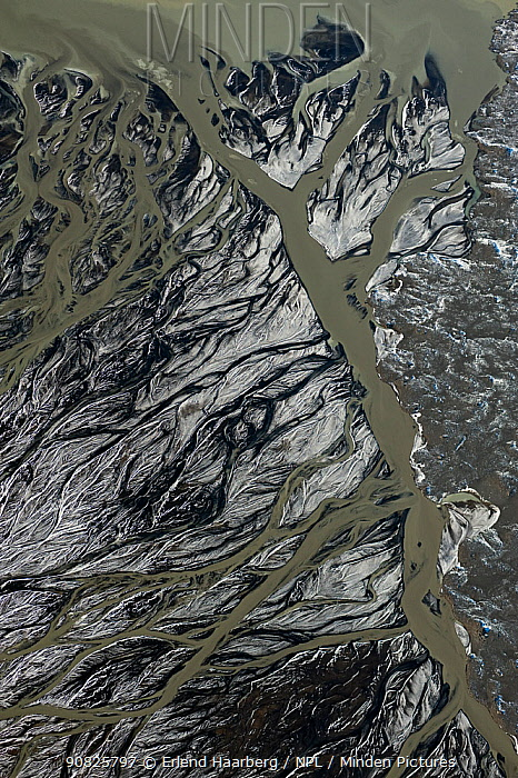 Aerial view of delta on the South coast of Iceland, September 2010