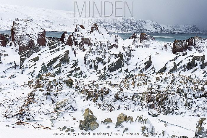 Winter landscape in the Persfjord, Varanger-peninsula, Finnmark, Norway, March.