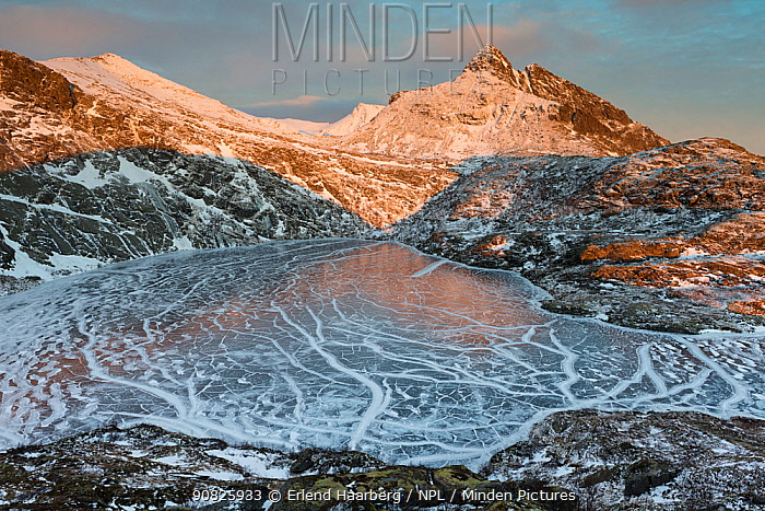 Pattern of cracked ice on a small lake, Moskenes municipality, Lofoten Islands, Nordland, Norway, January 2014.