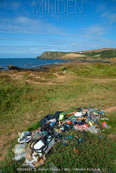 Plastic and other rubbish collected from beach clean-up. Prawle, South Devon, UK. July.