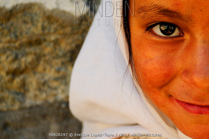 Muslim girl from the village of Turkut, near the frontier with Pakistan. Nubra Valley Kashmir, India. September 2011.