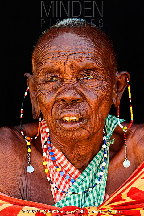 Very old Maasai Woman - around 100 years old -. head portrait, Maasai Mara National Reserve, Kenya.