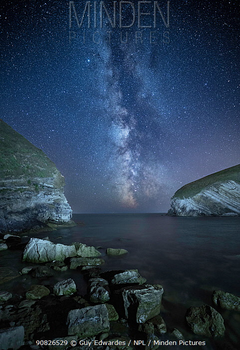 Milky way over Pondfield cove, Tyneham, Jurassic Coast World Heritage Site, Dorset, England, UK