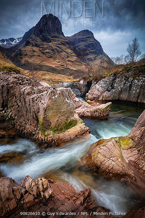 Long exposure of stream in Glencoe, Highland Region, Scotland, February.