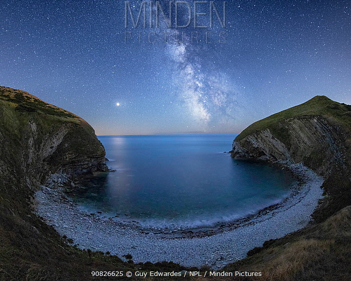 Milky Way and Mars over Pondfield Cove, Tyneham, Jurassic Coast World Heritage Site, Dorset, England, UK, August.