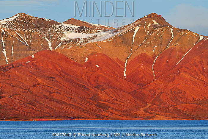 Mountain landscape and coast, Svalbard, Norway, September.