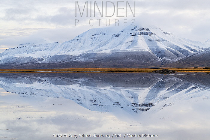 Snow covered landscape in Arctic, Svalbard, Norway, September.