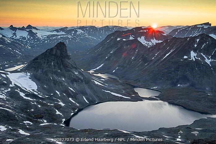 Mount Kyrkja at sunset, viewed from Visbretinden, Jotunheimen National Park, Norway, July.