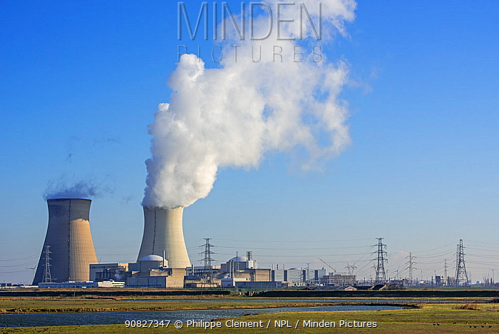 Nature reserve Prosperpolder and the Doel Nuclear Power Station / nuclear power plant in the Antwerp harbour, Flanders, Belgium. December 2018