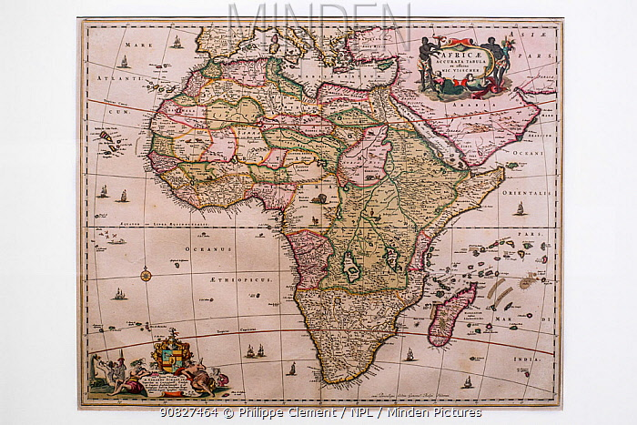 17th century map of the African continent, Africae Accurata Tabula by Dutch Golden Age mapmaker and publisher Nicolaas Visscher