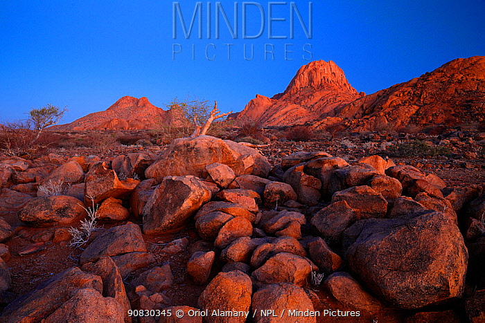 Rocky desert landscape in Spitzkoppe at dawn, Damaraland, Namibia, August