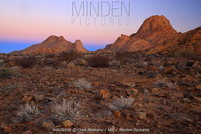 Rocky desert landscape in Spitzkoppe at dawn, Damaraland, Namibia, August