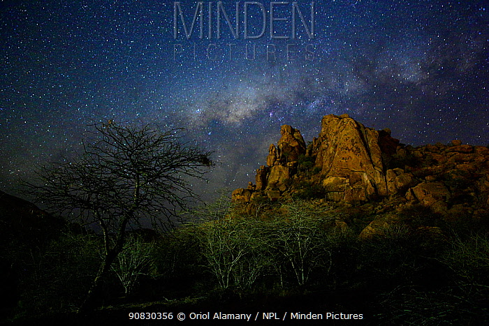 Milky Way above the granite Erongo mountains, Erongo Conservancy, Namibia, October