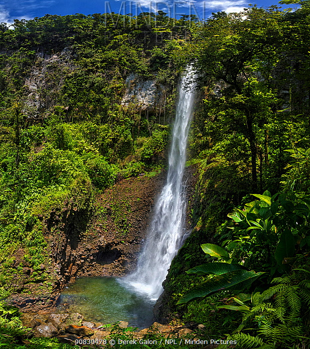 Middleham Waterfalls,Trois Pitons National Park, Dominica, West Indies. Stitched panorama. March 2019