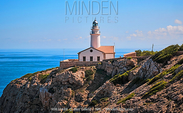 Capdepera lighthouse near Cala Ratjada, Majorca, Balearic Islands. September 2019