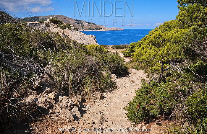 Coastal path near Cala Ratjada, Majorca, Balearic Islands. September 2019