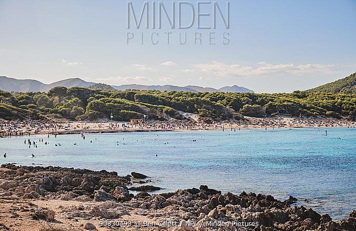 Cala Agulla beach, Majorca, Balearic Islands. September 2019