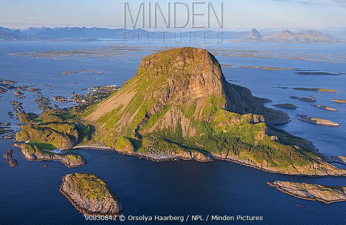 Aerial view of islands, islets and skerries, scattered in a wide strandflat. Lovund, Helgeland Archipelago, Norway. July.