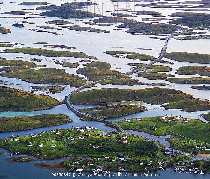 Aerial view of islands, islets and skerries, scattered in a wide strandflat. Brasoya, Helgeland Archipelago, Norway. July.