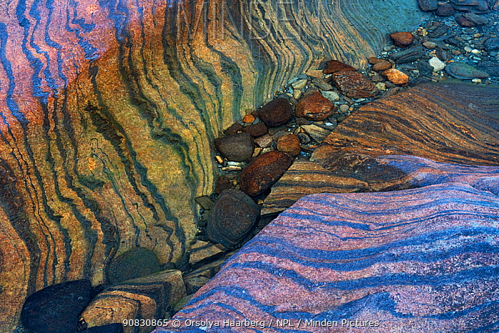 Distorted layers of marble and other metamorphosed sedimentary rocks, on a lake shore. Lahko National Park, Norway.