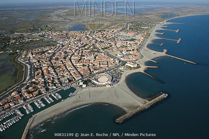 Aerial view of Saintes Maries de la Mer, Camargue, France. September 2019.