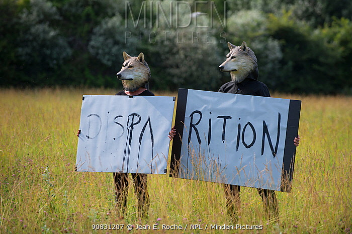 """Two people wearing wolf masks holding up a sign """"Disappearance"""" to highlight the loss of biodiversity, Envies Rh�nements, Camargue, France. June 2018."""