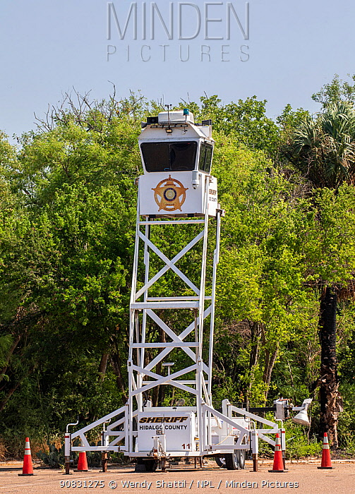 Police tower for law enforcement near the USA-Mexico border. Santa Ana National Wildlife Refuge, near Alamo, Hidalgo County, Texas, USA. July 2019.