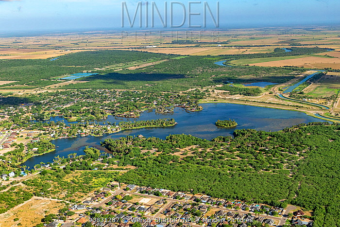 View from La Joya across Walker Lake to Las Palomas Wildlife Mangement Area, Rio Grande and Tamaulipas, Mexico beyond. Hidalgo County, Texas, USA. July 2019.