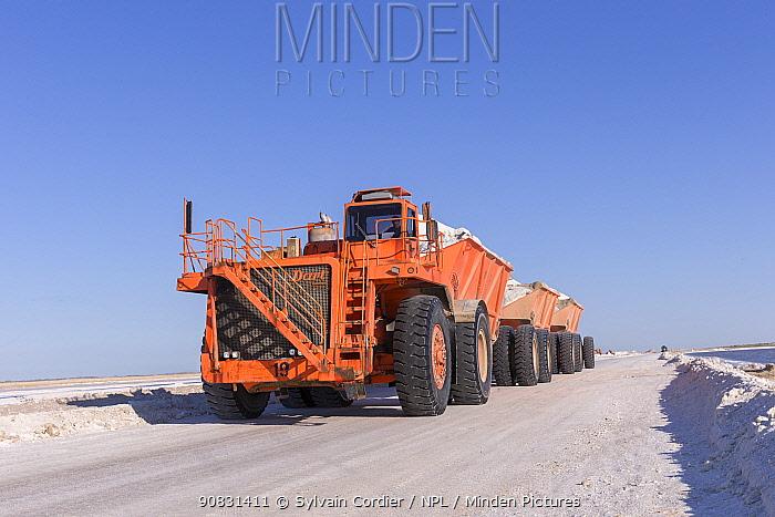 Vehicle transporting salt at Ojo de Liebre Lagoon saltworks, the biggest saltworks plant in the world. Guerrero Negro, Baja California Sur, Mexico. 2017.