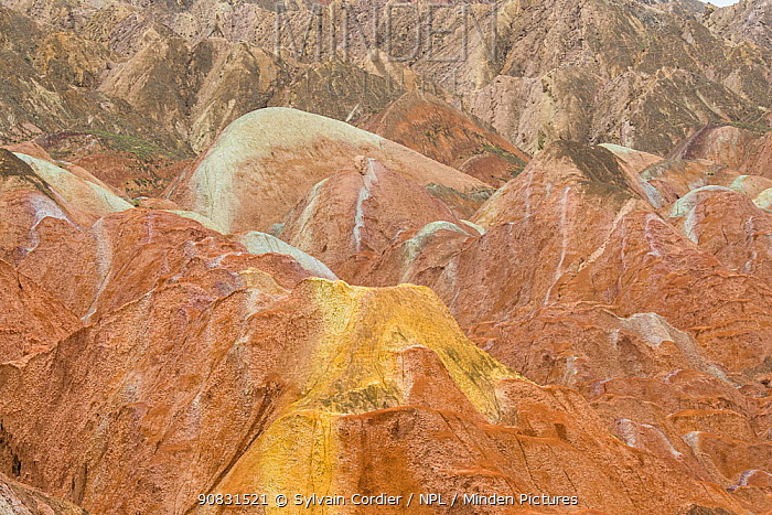 Rainbow Mountains, eroded hills of sedimentary conglomerate and sandstone. Zhangye National Geopark, China Danxia UNESCO World Heritage Site, Gansu Province, China. 2018.