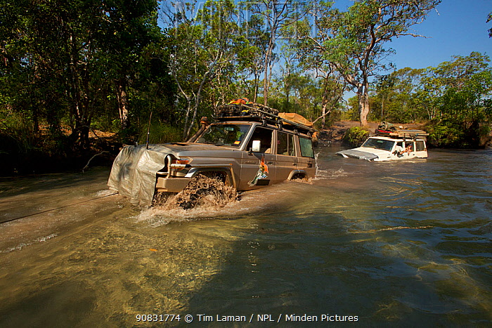 4x4 fording Nolan's Brook on the Overland Telegraph Line track route up the Cape York Peninsula, Queensland, Australia.
