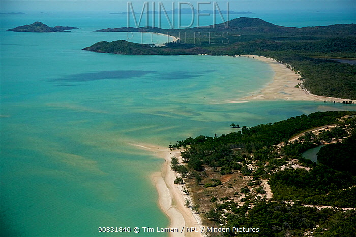 Aerial view of the Northern most point of Cape York Peninsula and the Continent of Australia. June 2012