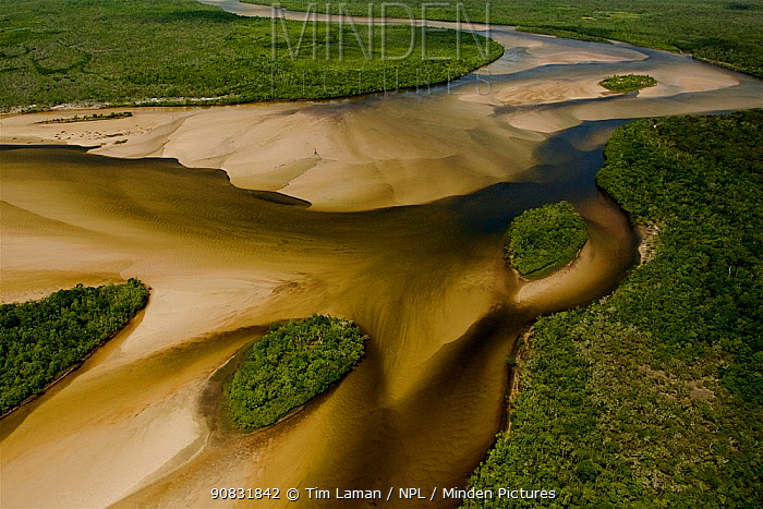 Aerial view of the Jardine River, with islands and sandbars of different depths creating patterns. Northern Cape York Peninsula, Australia. . June 2012